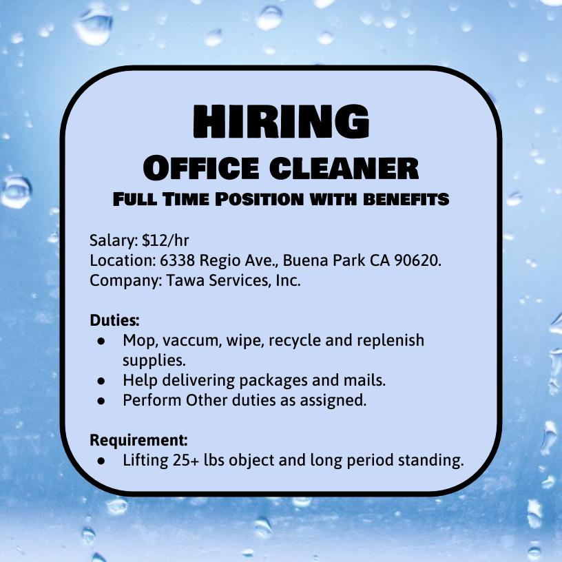 Office cleaner hiring post
